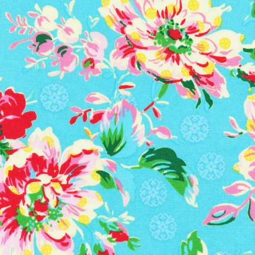 Stylish floral on blue from Ro Gregg's Peggy Sue collection of fabrics for Paintbrush Studio.