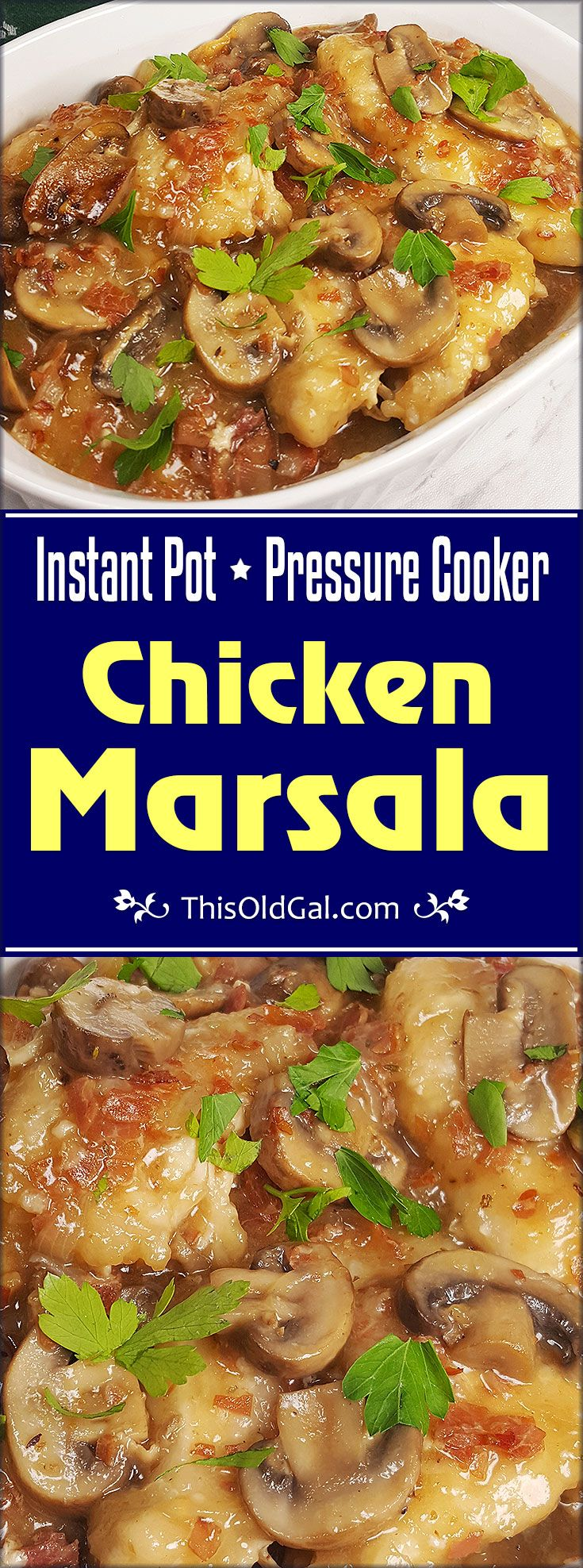 Instant Pot Italian Chicken Marsala is super easy to make. The Prosciutto and Marsala sauteed Mushroom and Onions, soars this meal to another level. via @thisoldgalcooks