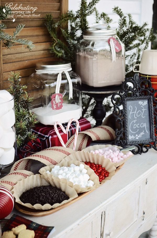 Fixings for Front Porch Hot Cocoa Bar, Hot Chocolate Bar, Winter Party Idea, Christmas Party Idea: Holiday Porch, Christmas Parties, Winter Party, Winter Wedding, Christmas Party Centerpiece, Hot Cocoa Bar Idea, Party Ideas, Hot Chocolate Bars, Front Porches