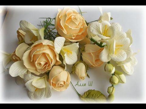 МК Гілочка фрезії і троянди із фоамірану. МК Веточка фрезии и роза из ф...