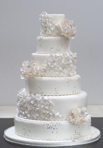 The 1134 best exotic cakes cupcakes images on pinterest white ruffles swarovski and diamond flowers wedding cake junglespirit Choice Image