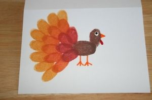 Easy Fingerprint Thanksgiving Craft!  A take on the typical turkey holiday craft.  Make a ton and hang them around the house!  #thanksgiving #craft #kidfun #fingerpaint