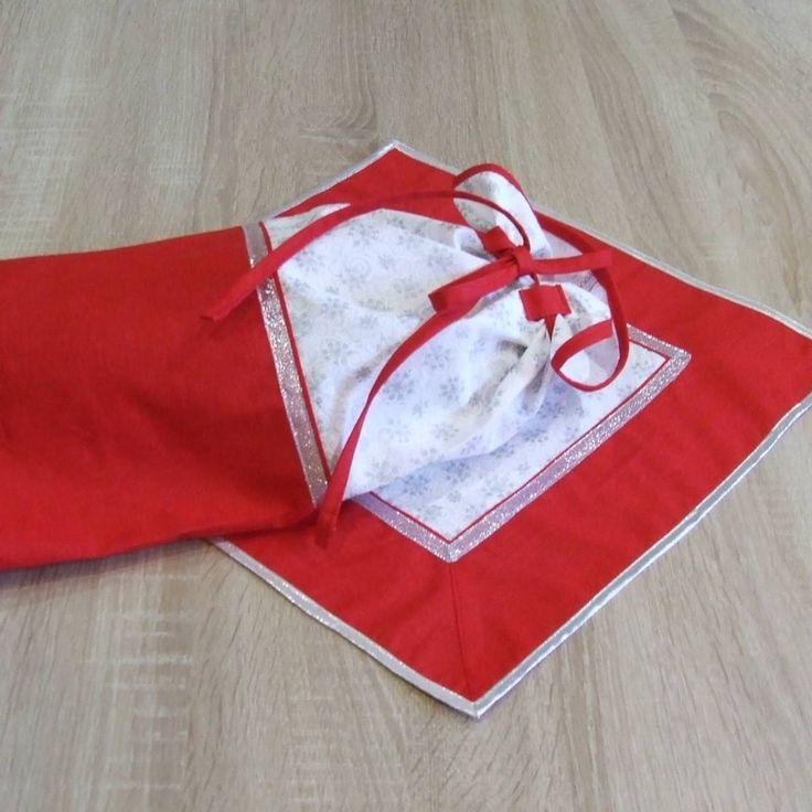 Úžitkový textil - Červeno strieborné vločky - vianočný obal na chlieb - 7147144_