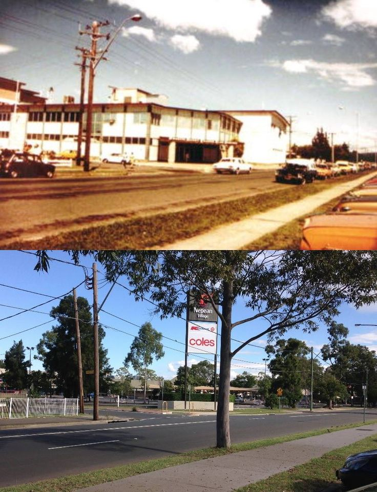 The corner of Station and Reserve Streets, Penrith in the early 1970's and 2015 - from Penrith Leagues Club to Nepean Village Shopping Centre. [early 1970's - Penrith City Council>2015 - Phil Harvey. By Phil Harvey]