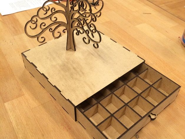 Jewelery Tree  She case Holder box CNC Cut File  Vector Art - Cuttable - DXF - CAD drawing - Laser Cut Pattern .cdr .eps .svg