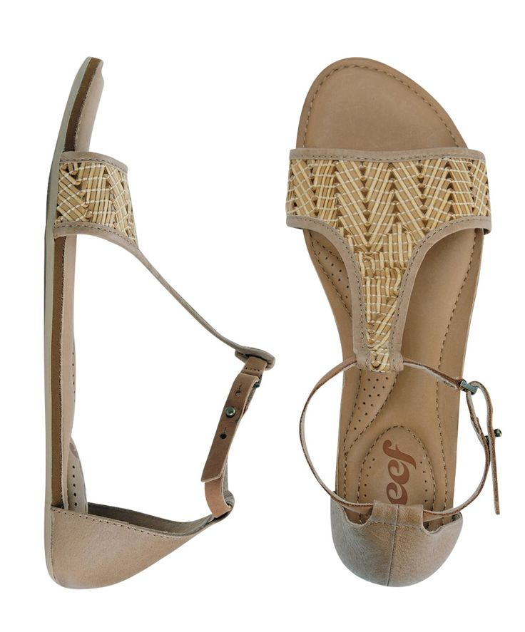 Look at this Natural Reef Shaded Palms Leather Sandal - Women