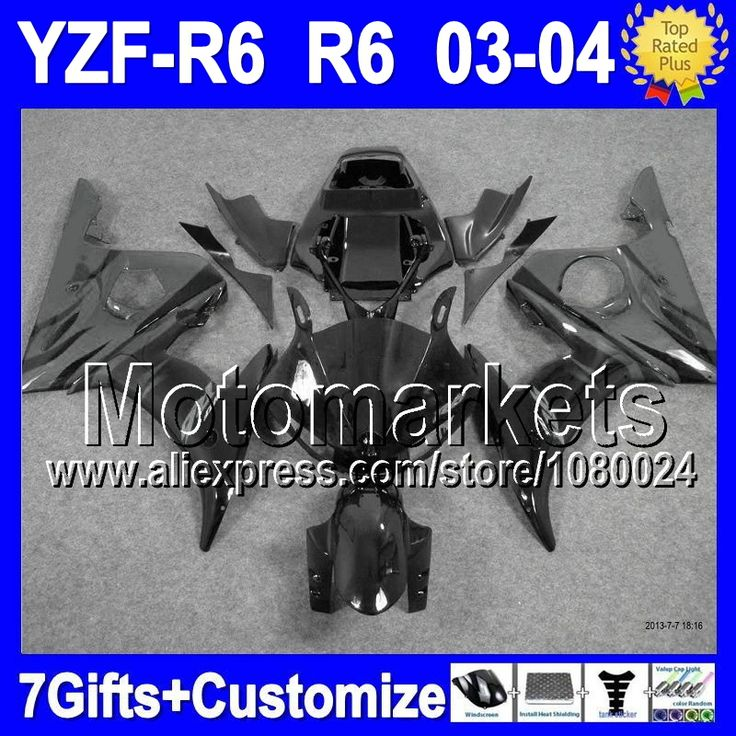 Серый 7 подарки + тела для YAMAHA YZF R6 YZF R 6 2003 2004 YZF600 серый черный K94121 R6 YZFR6 03 04 YZF-R6 03-04 обтекателя комплект