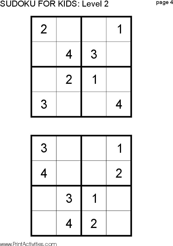 Free Kid Sudoku Puzzle: Level 2 Page 4