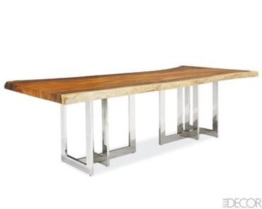 Modern Natural Edge Slab Dining Table Reclaimed Natural Form Chamchawood Thick Slab Top with Polished Stainless Steel (or Bronze Finished Brass) Geometric Base Exact Dimensions, Patinas and Colors Vary Due to Natural Shapes of Wood Tops
