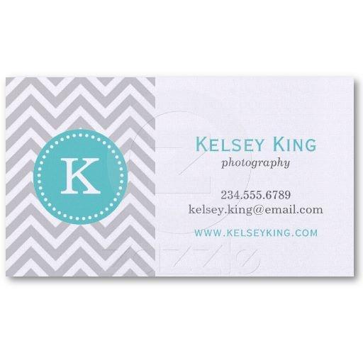 Gray  Turquoise Chevron Custom Monogram Business Card