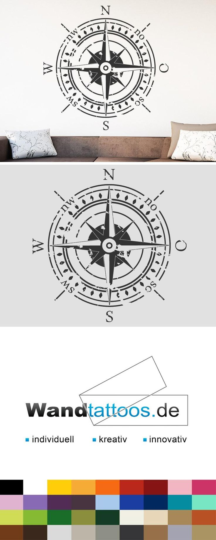 Wandtattoo Kompass als Idee zur individuellen Wandgestaltung. Einfach Lieblingsfarbe und Größe auswählen. Weitere kreative Anregungen von Wandtattoos.de hier entdecken!