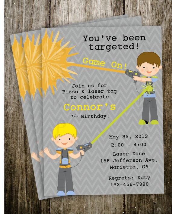 Laser tag Birthday Party Invitation Digital by 2SweetTeas on Etsy, $15.00