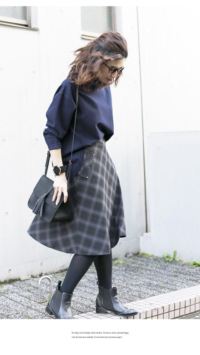 【Check flare skirt】レディース チェック スカート