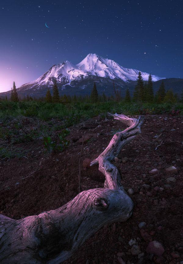 Гора Шаста в ясную ночь. горы, фото, красота, Природа, ночь