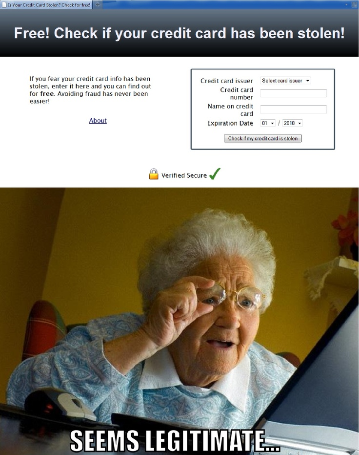 Grandma finds that her credit card has been stolen