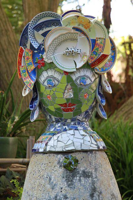 Green Mosaic Garden Goddess by gillm_mosaics,