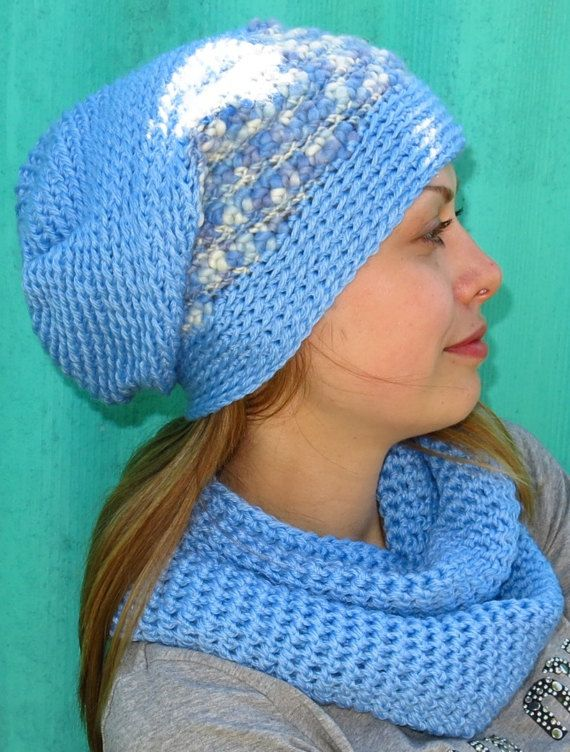 Knitted Cap Knit Blue Hat Womens Crocheted Cap Scarf Knit