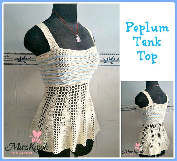 Peplum Tank Top, Free Crochet Pattern from Be a Crafter