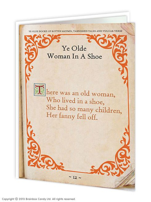 brainboxcandy.com - Old Woman Fanny Greeting Card, £2.50 (http://www.brainboxcandy.com/old-woman-fanny-greeting-card/)
