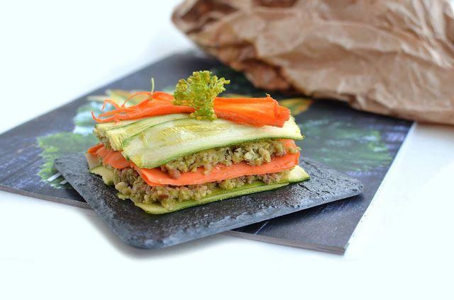 Lasagna Raw di verdure con pesto di broccoli e mandorle
