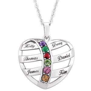 46 best personalized jewelry for mom images on pinterest gold plated mothers name birthstone heart necklace open heart design is very uniquee cursive print is elegant aloadofball Gallery