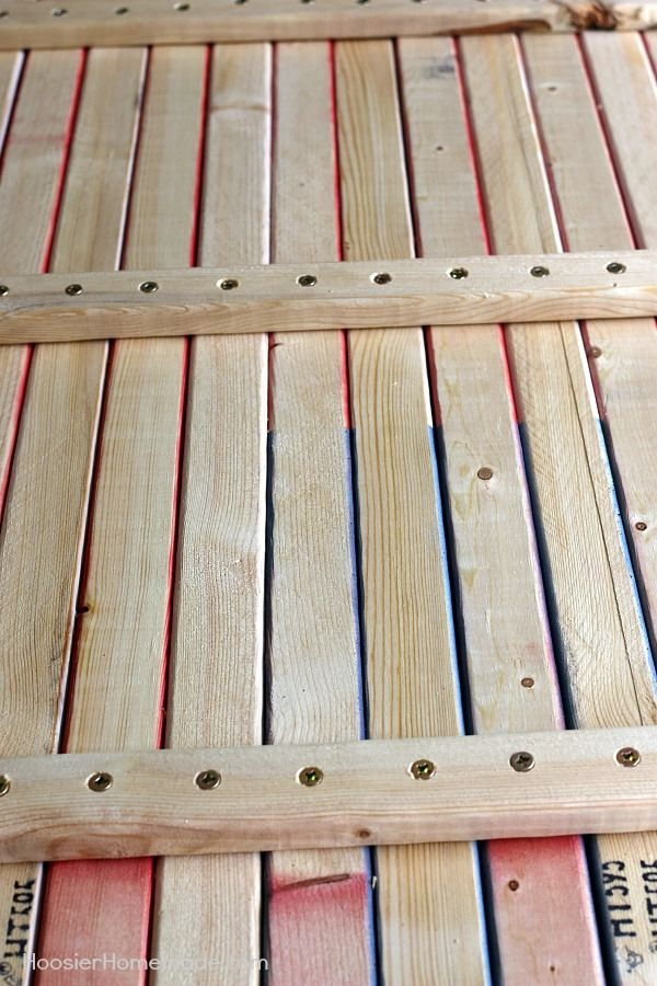 HOW TO MAKE A WOODEN FLAG -- Making a wooden flag is MUCH easier than you think! Some wood, a little paint and screws and you have a patriotic flag to hang in your home!