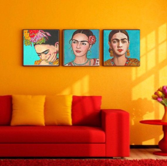 40% Off  Frida Kahlo Print Canvas Wrap Home Decor Corporate Art Giclee Grouping Frida Poster Painting Mexican Folk Art Frida Kahlo Art Large