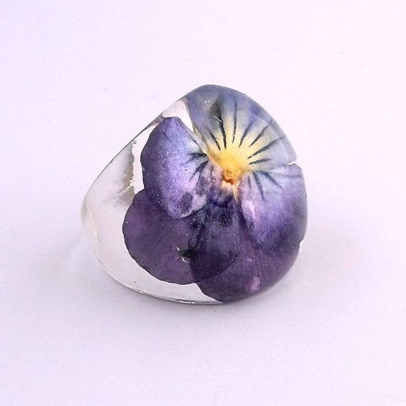 Purple Pansy Resin Ring.  Pansy Violet Viola Resin Ring.  Pressed Flower Ring.  Handmade Jewelry with Real Flowers - Purple Yellow Violet on Etsy, $38.00