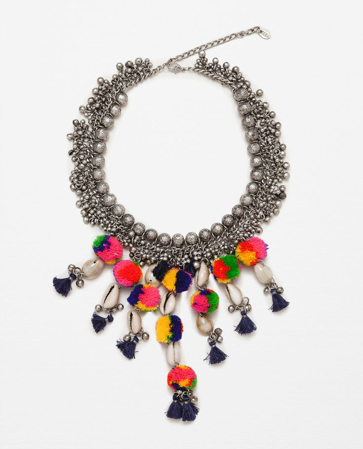 Affordable Accessories for Summer 2016 | Colorful Beaded Pom Pom Necklace from @zaraofficial