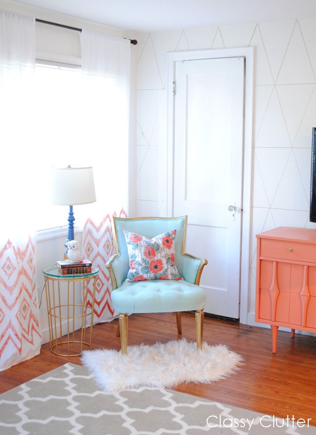 Pretty little Reading Nook and Mint/Gold Chair Makeover - www.classyclutter.net