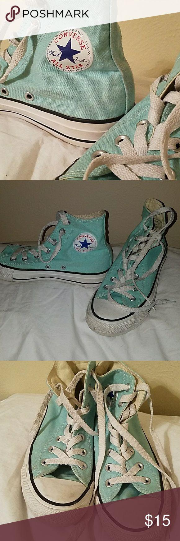 Size 6 turquoise converse hightop original Size 6, original converse hightops Converse Shoes Sneakers