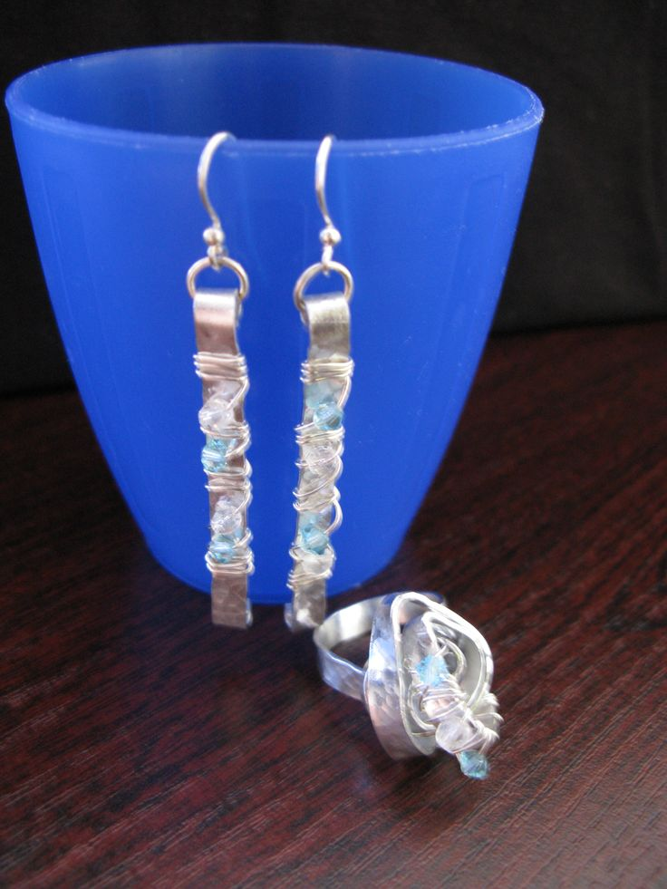 flat aluminium wire creation, ring and earrings