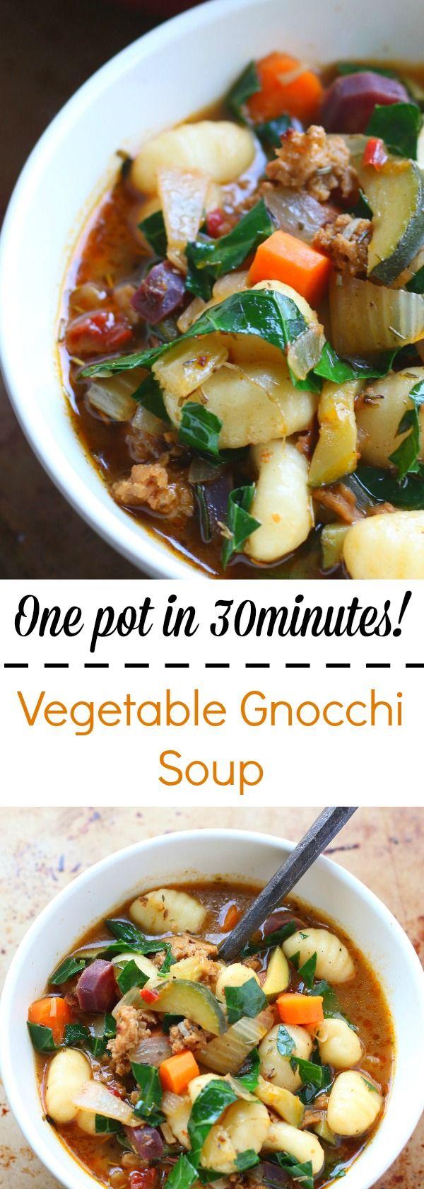 One pot in 30 minutes Vegetable Gnocchi Soup!   #gnocchi #soup #souprecipes #vegetables
