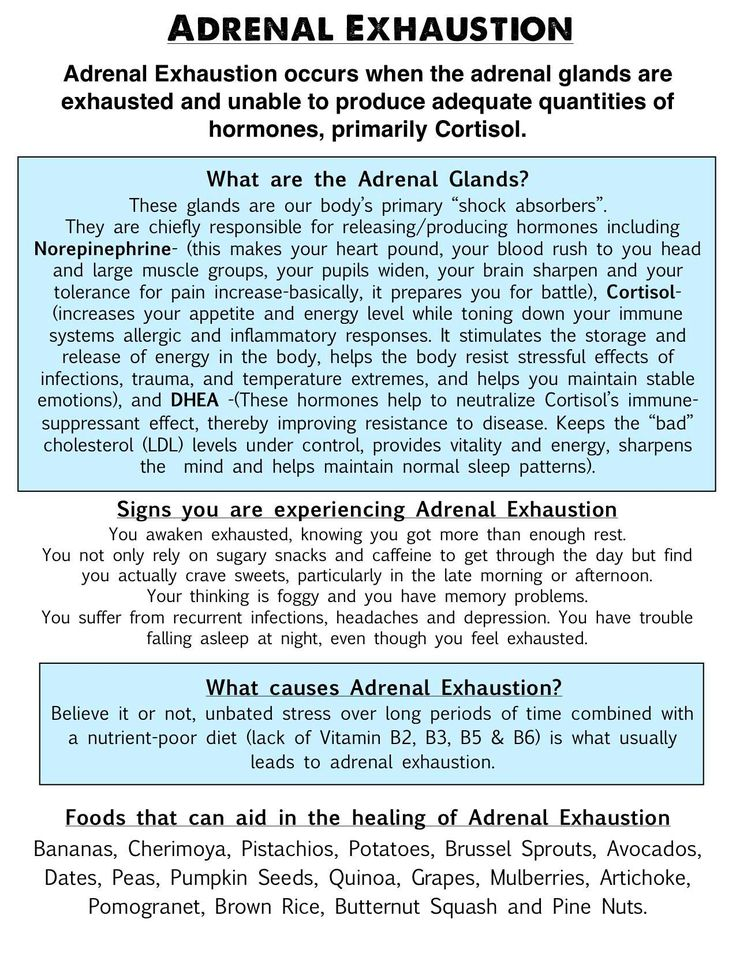 ADRENAL EXHAUSTION -- Note: I believe bananas are often NOT recommended on an adrenal fatigue diet due to high levels of potassium.