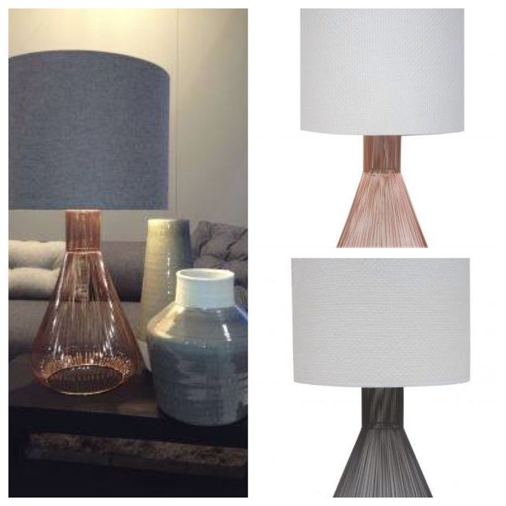 A contemporary lamp that fuses modern fun with a more formal shape. The Quasar Table Lamp is made from metal wires gathered together to create a clean silhouette with a trace of an antique look. Copper or Grey $235 including custom shade. www.homeaboutstyle.com.au