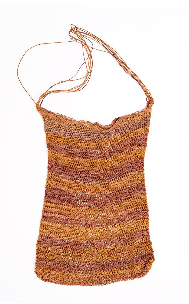 Aboriginal String Bag - Dilly Bag - Natural Dyes, 1980's