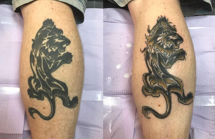 Refresh and color of older lion tattoo by Dale the Nail Texas Body Art Houston - before and after