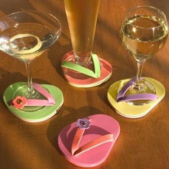 Pool party ideas: Flop Coasters, Flipflops, Wine Glass, Summer, Flip Flops, Craft Ideas, Party Ideas, Crafts