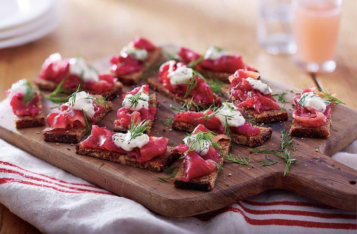In Ravinder Bhogal's recipe, the smoked salmon takes on a beautiful pink colour thanks to the beetroot, while a horseradish, caper and lemon cream adds indulgence.