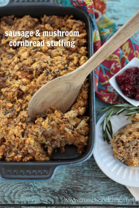Sausage & Mushroom Cornbread Stuffing - Crumbs and Chaos