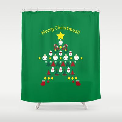 FLAT CHRISTMAS series -CHRISTMAS STAR_G Shower Curtain by SEOL.D - $68.00