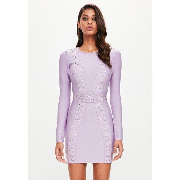 Peace Love Purple Long Sleeve Bandage Plait Detail Dress ($120) ❤ liked on Polyvore featuring dresses, long sleeve purple dress, peace sign dress, long sleeve bandage dress, longsleeve dress and long sleeve dress