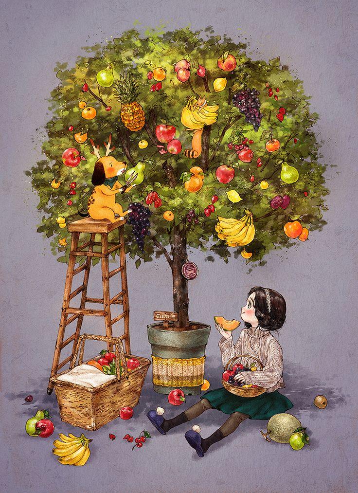 여러 종류의 과일이 한꺼번에 열리는 나무가 있으면 얼마나 좋을까요?  계절에 상관없이 다양한 과일들을 맛볼 수 있을 테니 말이에요.  How wonderful would it be for a tree to exist that bears various types of fruit? We could taste a diverse arrangement of fruits regardless of season.