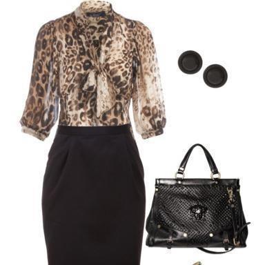 blusa animal print falda negra