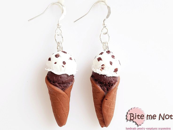 -Silver plated hook earrings!-Ice cream cones with two scoops of ice cream (chocolate and vanilla-biscuit)!