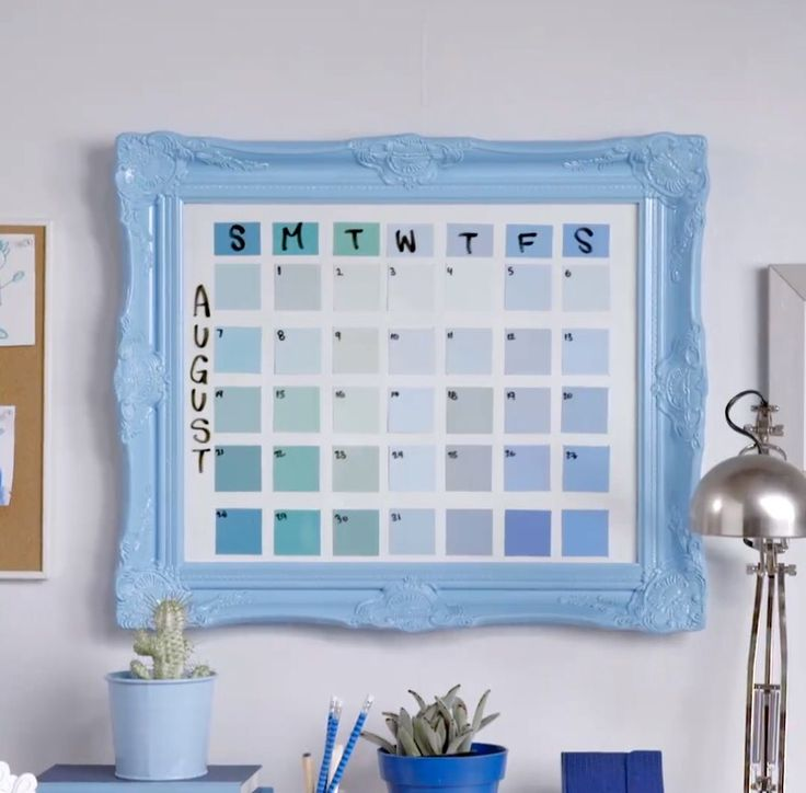 """DIY Calendar   16"""" x 20"""" picture frame Paint Swatches / Sticky Notes Dry Erase Marker"""