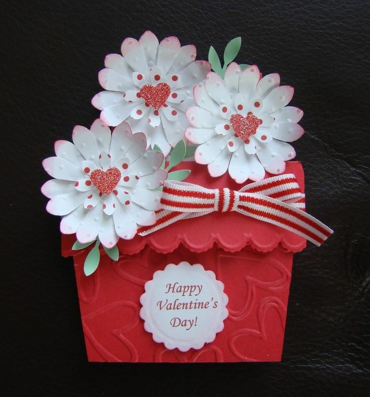 Flower Pot Giftcard Holder. Red and white. Flowers are swiss dots embossed.