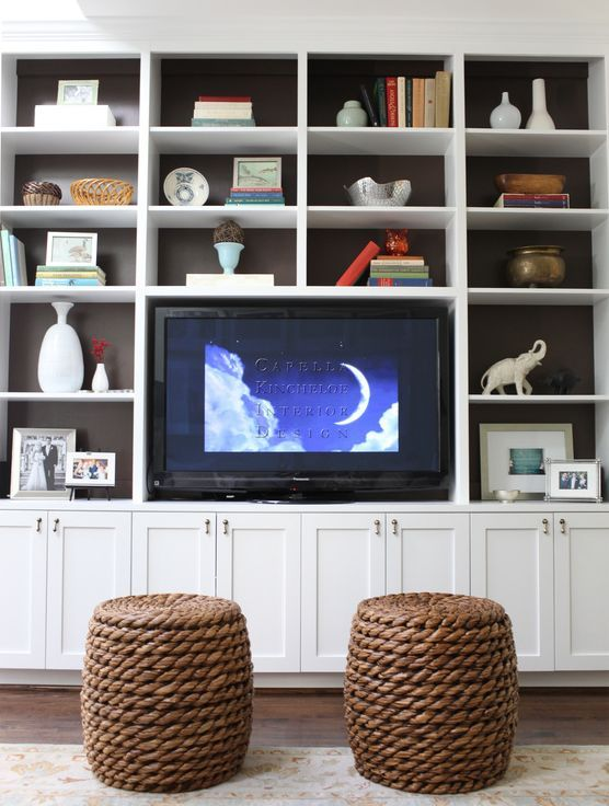 SHELTER: Thoughts on home....Where to put the tv--in a bookcase wall--with inside of bookcases painted black so the tv disappears.