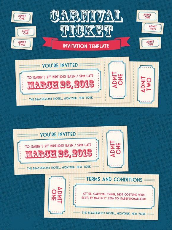 Carnival Ticket Invitation Template Invitation Templates $800 - admit one template