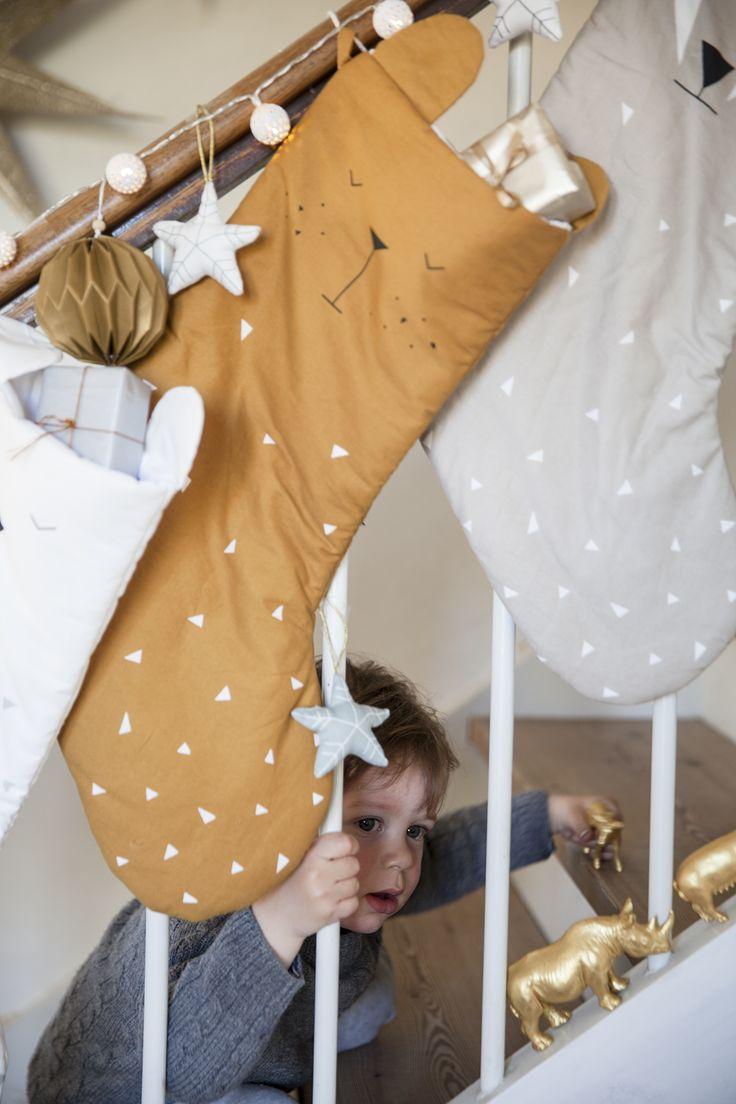Weihnachts-Strumpf, Christmas Stockings, Bär, senfgelb, FABELAB | Truls & Trine